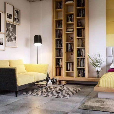 chambre à coucher avec canapé jaune paille