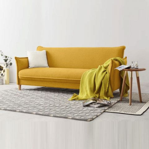 Canapé jaune Tully style scandinave