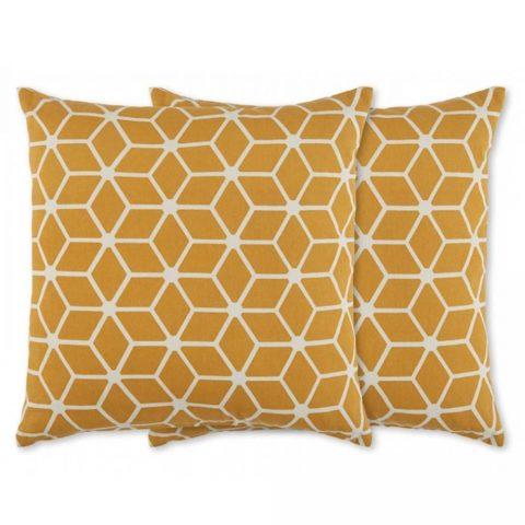 Aldis, lot de 2 coussins à motif géométrique 45 x 45 cm, jaune moutarde