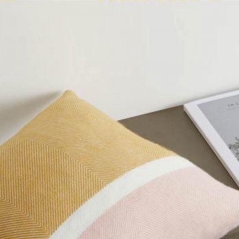 coussin 45 x 45 cm, jaune moutarde et rose Auburn