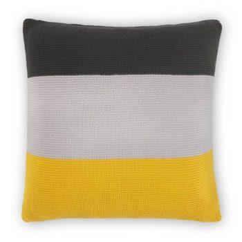 coussin tricoté 100% coton à motif 45 x 45 cm, gris et jaune moutarde Narvik