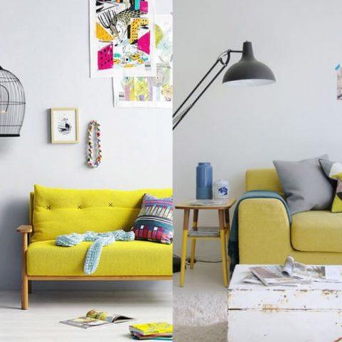 photo de salon avant et apres canape jaune