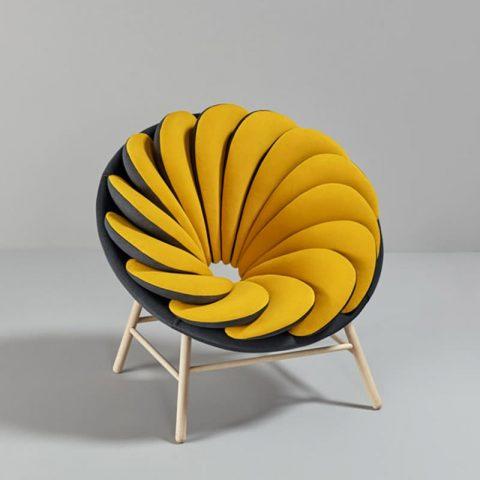 fauteuil jaune design en rond