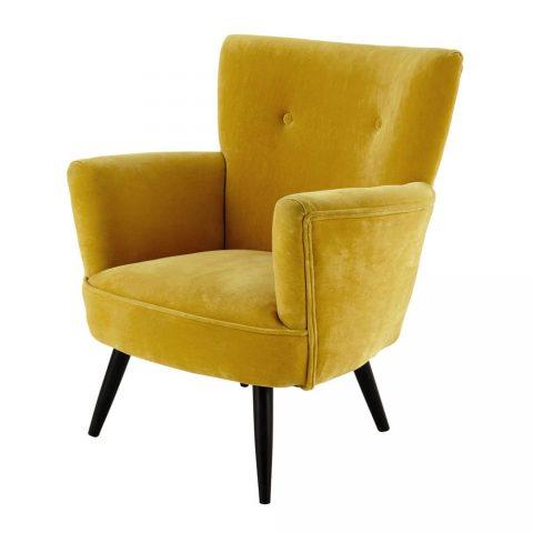 fauteuil jaune moutarde avec pied en bois