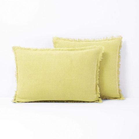 Housse de coussin jaune pale pur lin lave linange