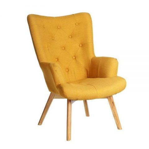 photo fauteuil jaune moutarde scandinave